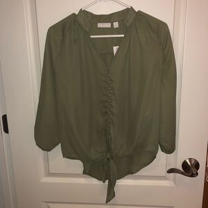 NY&Co army green front tie blouse new with tags xs